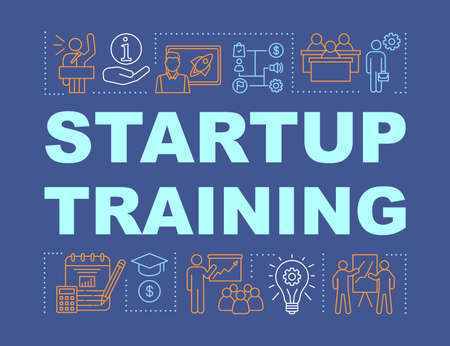 Startup training word concepts banner. Business seminar, conference. High economic education. Presentation, website. Isolated lettering typography idea with linear icons. Vector outline illustration