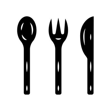 Reusable bamboo cutlery set glyph icon. Zero waste recyclable kitchen tableware. Eco-friendly disposable fork, knife, spoon. Silhouette symbol. Negative space. Vector isolated illustration