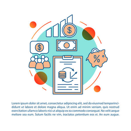 Investment article page vector template. Finance research. Brochure, magazine, booklet design element with linear icons and text boxes. Print design. Concept illustrations with text space
