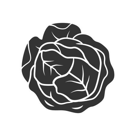 Cabbage glyph icon. Vegetable. Agriculture plant. Salad ingredient. Diet and nutrition. Healthy food. Vegetarian food. Vegetable farm. Silhouette symbol. Negative space. Vector isolated illustration