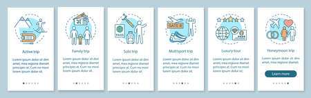 Travel styles onboarding mobile app page screen with linear concepts. Luxury and multisport tour. Solo trip. Six walkthrough steps graphic instructions. UX, UI, GUI vector template with illustrations Illustration