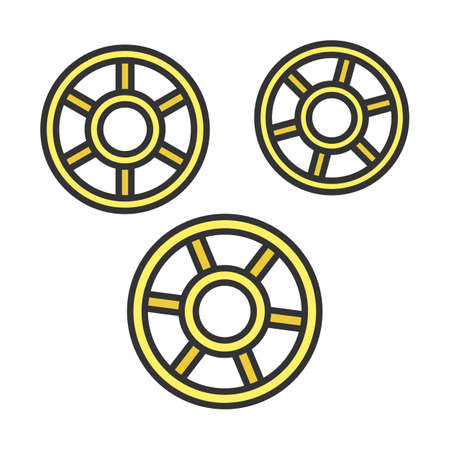 Rotelle color icon. Wagon wheels shaped pasta. Raw uncooked ruote noodles. Traditional Italian cuisine. Culinary semi-finished product for soup or garnish. Isolated vector illustration