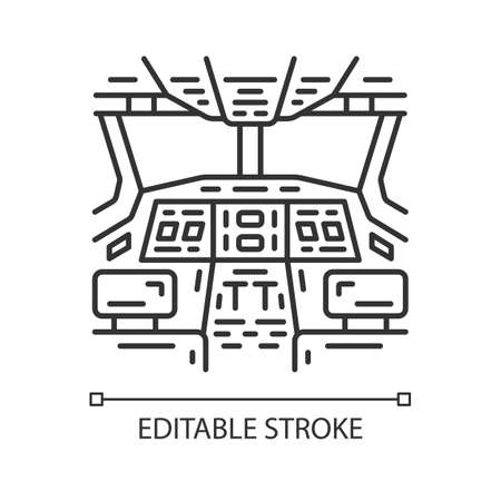 Cockpit linear icon. Thin line illustration. Airplane equipment. Aviating lever. Jet control. Aviation service. Aircraft travel. Contour symbol. Vector isolated outline drawing. Editable stroke