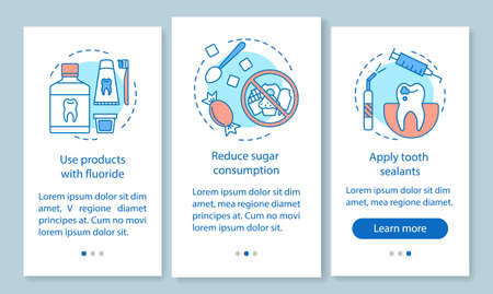 Caries prevention onboarding mobile app page screen with linear concepts. Reduce likelihood of dental disease walkthrough steps graphic instructions. UX, UI, GUI vector template with illustrations