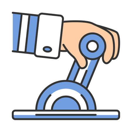 Symbol für die Farbe des Pilotmotorhebels. Flugzeugausrüstung. Luftfahrt. Piloten-Hand. Jet-Steuerung. Flugdienst. Flugzeugreisen. Luftfahrt teil. Flugreise. Isolierte Vektorillustration