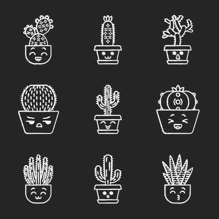 Cactuses chalk icons set. Plants with smiling faces. Laughing Saguaro and peyote cactus. Kissing zebra cacti. Home cacti in pots. Succulent plants. Isolated vector chalkboard illustrations