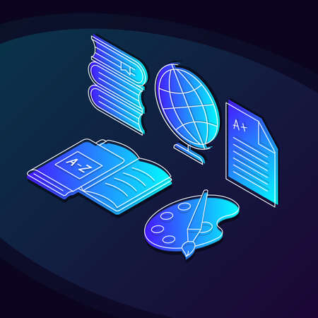 University education isometric color vector illustration. Studying linear icons infographic. School subjects, classes 3d concept. Academic learning. Knowledge web design on dark blue background