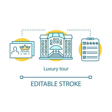 Luxury tour concept icon. Travel style idea thin line illustration. Five-star hotel. All-inclusive package. Travel agency service. VIP membership. Vector isolated outline drawing. Editable stroke