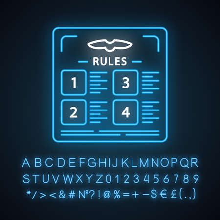 Flight rules neon light icon. Table with statute. Airplane adjustment. Plane security. Jet safety regulations. Glowing sign with alphabet, numbers and symbols. Vector isolated illustration