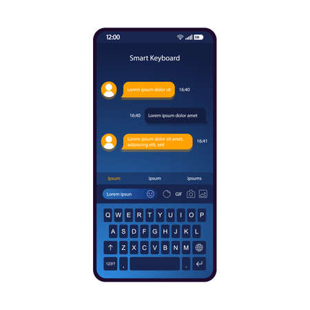 Smart keyboard smartphone interface vector template. Mobile app page blue design layout. Instant messaging screen. Flat UI for application. Smart dictionary, predictive text input, t9. Phone display