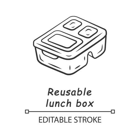 Reusable lunch box linear icon. Eco friendly material. Food storage container. Plastic food packaging. Thin line illustration. Contour symbol. Vector isolated outline drawing. Editable stroke
