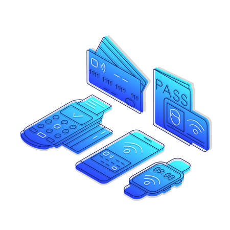 NFC technology isometric color vector illustration. Cashless electronic payments linear icons infographic. Contactless transactions 3d concept. Near field communication. Gradient isolated elements
