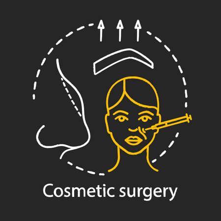 Cosmetic surgery chalk icon. Person appearance improving. Aesthetic procedures. Face reshaping. Plastic surgery center service. Lifting. Isolated vector chalkboard illustration Ilustração