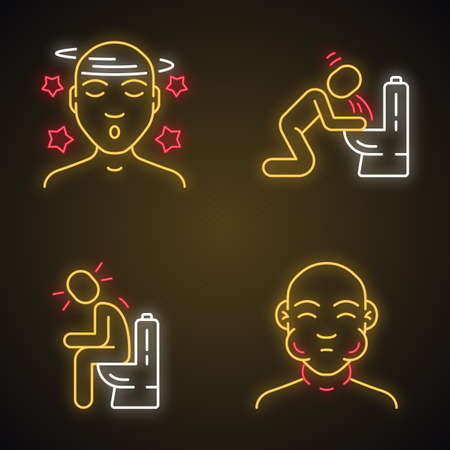 Food poisoning, allergy symptoms neon light icons set. Face swelling, dizziness, fatigue allergic reaction. Glowing signs. Vomiting, diarrhea, constipation. Vector isolated illustrations