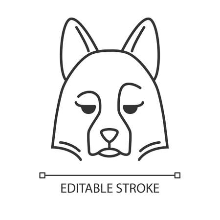 Sheepdog cute kawaii linear character. Thin line icon. Dog with pensive muzzle. Domestic doggie with sad eyes. Quality considering animal. Vector isolated outline illustration. Editable stroke