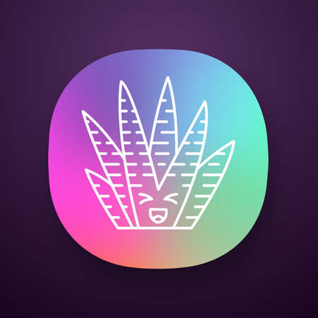 Zebra cactus app icon. Cacti with laughing face. Happy wild Haworthia. Small succulent plant with squinting eyes. UIUX user interface. Web or mobile application. Vector isolated illustration