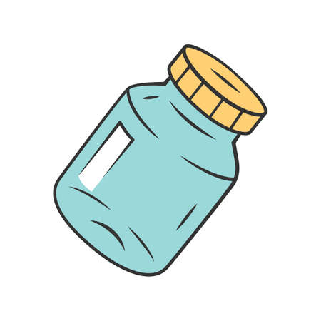 Refillable spice jar color icon. Reusable container for pepper, salt. Eco-friendly glassware, mason jar. Isolated vector illustration