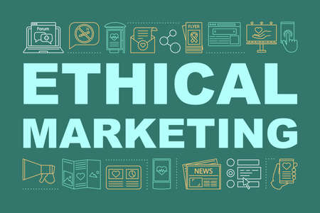 Ethical marketing word concepts banner. Social issues ads. Healthy lifestyle promotion. Isolated lettering typography. Healthy eating promoting. Vector outline illustration