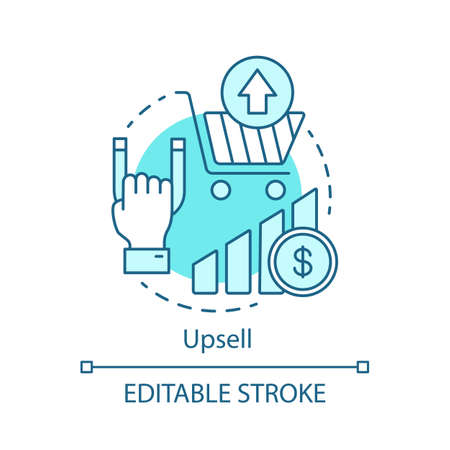 Upsell concept icon. Sale method idea thin line illustration. Increasing cost of order and income. CRM software. Customer relationship management. Vector isolated outline drawing. Editable stroke