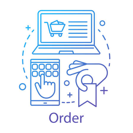 Order concept icon. Deal making idea thin line illustration. Online store shopping. Customer relationship management. E commerce. CRM software. Vector isolated outline drawing Çizim