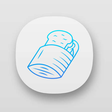 Reusable sandwich bag app icon. Zero waste recyclable paper lunch bag for hamburgers. Eco-friendly snack container. UI/UX user interface. Web or mobile applications. Vector isolated illustrations
