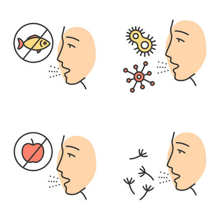 Allergies color icons set. Food, pollen, bacteria intolerance. Allergen sources. Allergic diseases. Hypersensitivity of immune system. Medical problem. Cause of swelling. Isolated vector illustrations