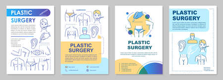 Reconstructive plastic surgery brochure template layout. Flyer, booklet, leaflet print design with linear illustrations. Vector page layouts for magazines, annual reports, advertising posters