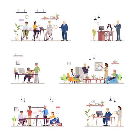 Conjunto de ilustraciones de vector plano de organización de trabajo de oficina. Trabajo en equipo, interacción con compañeros, coworking. El rendimiento del equipo. Gente de negocios y secretarias, asistentes personales personajes aislados