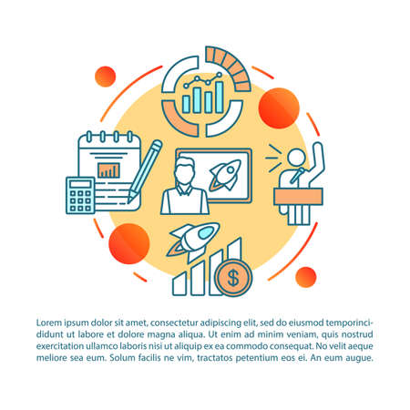 Startup training article page vector template. Business consulting. Brochure, magazine, booklet design element with linear icons and text boxes. Print design. Concept illustrations with text space