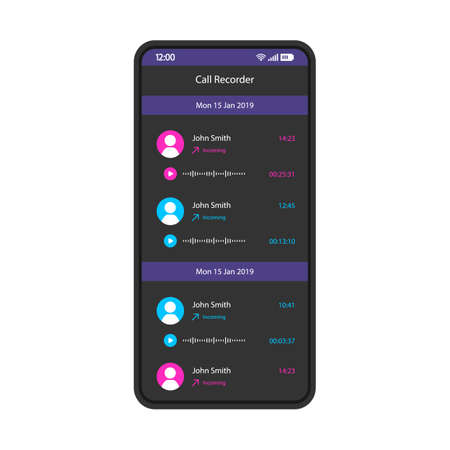 Call recorder smartphone interface vector template. Mobile app page black design layout. Incoming voice mail, audio messages screen. Flat UI for application. Audio records, media list. Phone display Ilustracje wektorowe