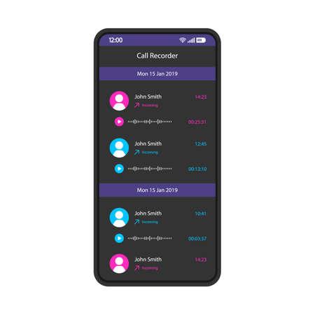 Call Recorder Smartphone-Schnittstellenvektorvorlage. Schwarzes Design-Layout der mobilen App-Seite. Eingehende Voicemail, Bildschirm für Audionachrichten. Flache Benutzeroberfläche für die Anwendung. Audioaufzeichnungen, Medienliste. Telefondisplay Vektorgrafik
