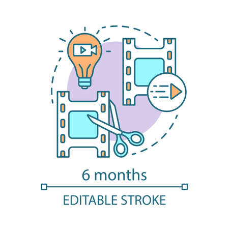 6 months concept icon. Video editor subscription tariff idea thin line illustration. Motion design program. Film editing. Applying effects. Vector isolated outline drawing. Editable stroke