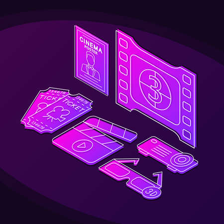 Cinema isometric color vector illustration. Movie theater linear icons infographic. Cinematography, video production, filmmaking 3d concept. Watching film gradient isolated design elements Standard-Bild - 129558336