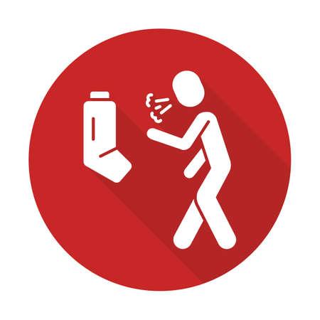 Allergic asthma flat design long shadow glyph icon. Wheezing, shortness of breath, suffocation. Bronchospasm allergy symptom. Asthmatic using inhaler. Cough treatment. Vector silhouette illustration