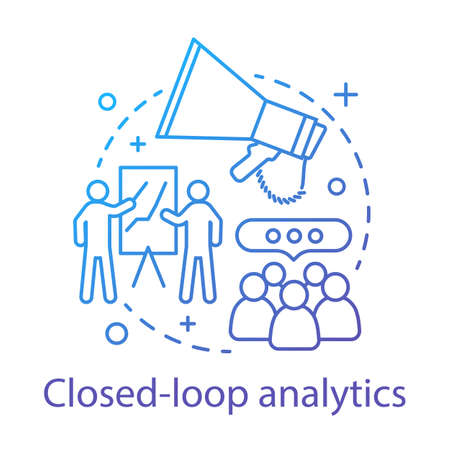 Closed-loop analytics concept icon. Customer lifecycle idea thin line illustration. Business management. Sales and marketing alignment. CRM system. Vector isolated outline drawing