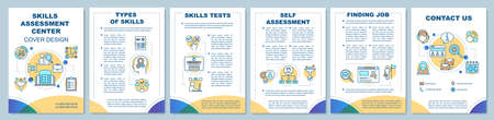 Skills assessment center brochure template layout. Flyer, booklet, leaflet print design with linear icons. Employee qualification vector page layouts for magazines, annual reports, advertising posters