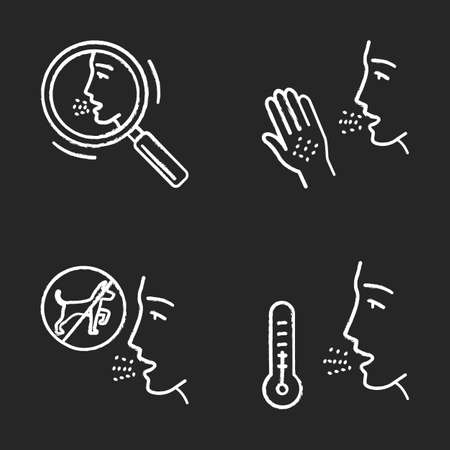 Allergies chalk icons set. Allergic reactions and diagnosis. Respiratory and skin diseases. Health care. Hypersensitivity of immune system. Medical problem. Isolated vector chalkboard illustrations