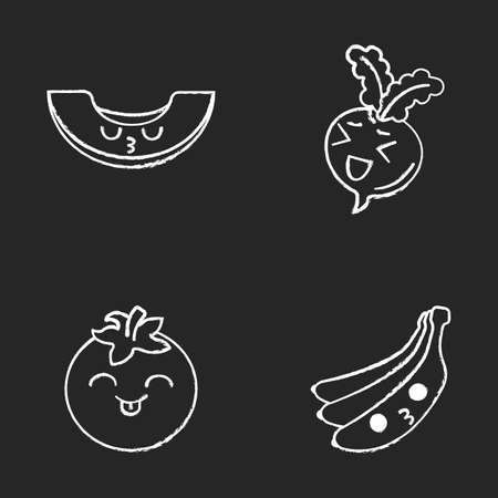Vegetables and fruits cute kawaii chalk characters set. Tomato, kissing banana and melon, laughing beetroot with smiling faces. Funny emoji, emoticon, smile. Vector isolated chalkboard illustration 일러스트