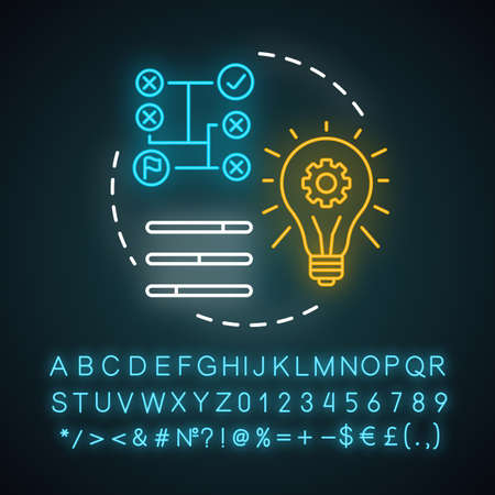 Technical skills neon light concept icon. Power of knowledge, learning process, self education. Glowing sign with alphabet, numbers and symbols. Logical technical mindset vector isolated illustration