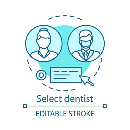 Select dentist vector concept icon. Choose physician. Feedback about medical care equality. Online consultation. Chat with doctor idea thin line illustration. Isolated outline drawing. Editable stroke