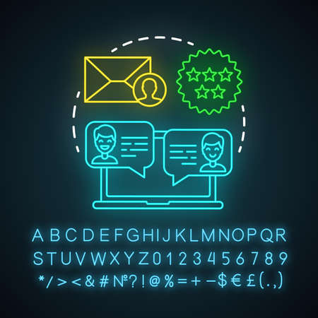 Testimonials neon light icon. Decision making content. Consumer recommendation, review. Referral marketing strategy. Glowing sign with alphabet, numbers and symbols. Vector isolated illustration