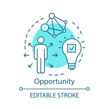 Opportunity turquoise concept icon. Career growth, business success idea thin line illustration. Development, achievement, motivation, challenge vector isolated outline drawing. Editable stroke Иллюстрация