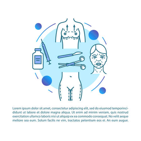Lifting article page vector template. Cosmetic surgical procedure. Brochure, magazine, booklet design element with linear icons and text boxes. Print design. Concept illustrations with text space 일러스트