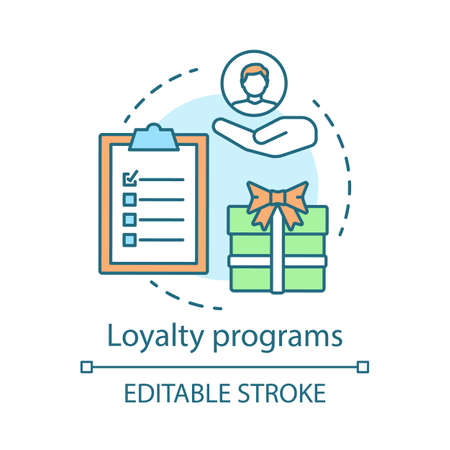Loyalty programs concept icon. Rewards program idea thin line illustration. Decision making content. Marketing strategy. Customers attraction. Vector isolated outline drawing. Editable stroke