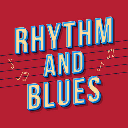 Rhythm and blues vintage 3d vector lettering. Retro bold font, typeface. Pop art stylized text. Old school style letters. 90s, 80s poster, banner, t shirt typography design. Burgundy color background