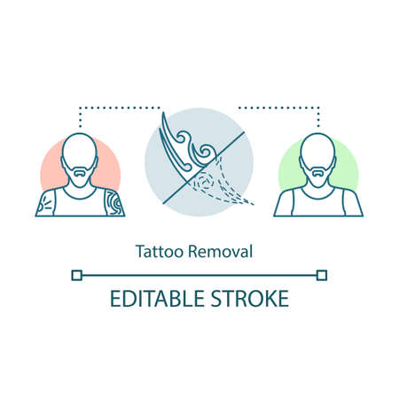 Tattoo removal concept icon. Removal procedure idea thin line illustration. Cosmetology. Laser. Plastic surgery. Unwanted Tattoos. Vector isolated outline drawing. Editable stroke