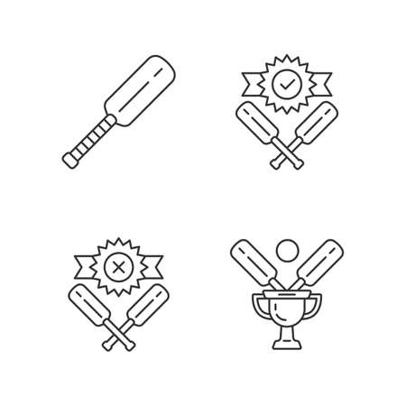 Cricket championship linear icons set. Sport tournament. Bat, champion cup, win, defeat. League competition. Thin line contour symbols. Isolated vector outline illustrations. Editable stroke