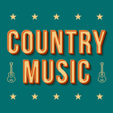 Country music vintage 3d vector lettering. Retro bold font, typeface. Pop art stylized text. Old school style letters. 90s, 80s poster, banner, t shirt typography design. Pine color background Vector Illustration
