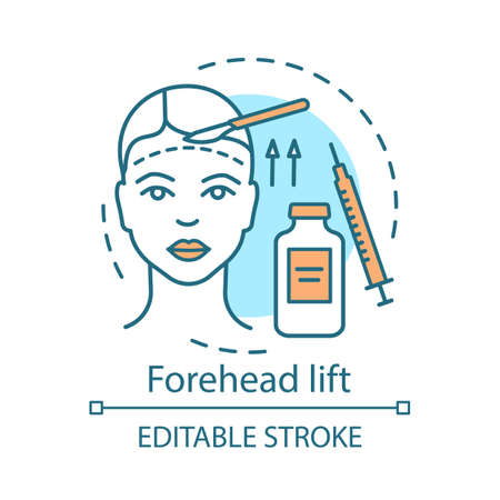 Forehead lift concept icon. Reduce face wrinkle lines idea thin line illustration. Surgical procedure. Brow lift. Rejuvenation. Droopy eyelids. Vector isolated outline drawing. Editable stroke 일러스트