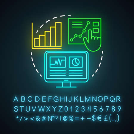 Infographics neon light icon. Channel for SEO. Marketing, SMM metrics, analytics. Awareness content. Data representation. Glowing sign with alphabet, numbers and symbols. Vector isolated illustration